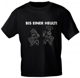 Kinder T-Shirt mit Print - BIS EINER HEULT - 08293 - schwarz - Gr. 86-164