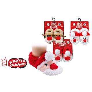 Baby- Hausschühchen mit ABS- Druck und Applikation Weihnachten - rot-weisse Socke- 56909
