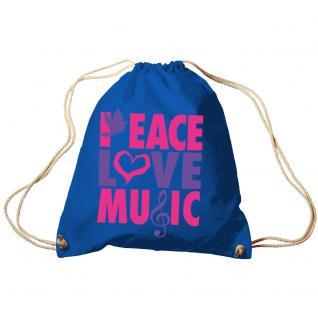 Trend-Bag Turnbeutel Sporttasche Rucksack mit Print - Peace Love Music - TB09017 - Vorschau 5