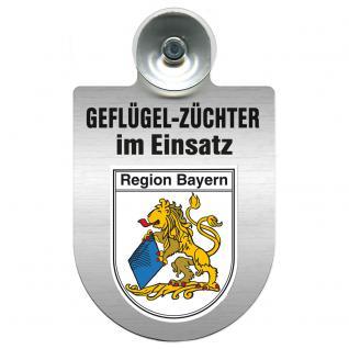 Einsatzschild Windschutzscheibe incl. Saugnapf - Geflügelzüchter im Einsatz - 309362-2 Region Bayern
