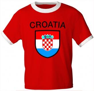 T-Shirt mit Print - Fahne Flagge Croatia Kroatien 76387 rot Gr. M