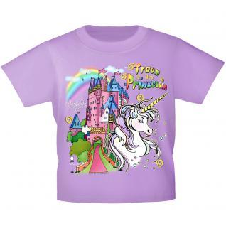 Kinder T-Shirt mit Print - Einhorn Schloß Zauber - 12430 versch. Farben Gr. 110-164 122/128 / flieder
