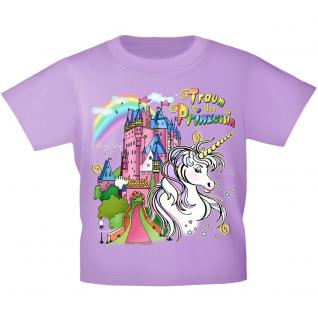 Kinder T-Shirt mit Print - Einhorn Schloß Zauber - 12430 versch. Farben Gr. 110-164 134/146 / flieder