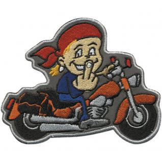 """Applikation Motivstick Aufbügler Emblem Abzeichen Patches Aufnäher """" Junge Motorrad 1"""" NEU Gr. ca. 11cm x 9cm (06108) Bike Chopper Trike Roller Zweirad"""