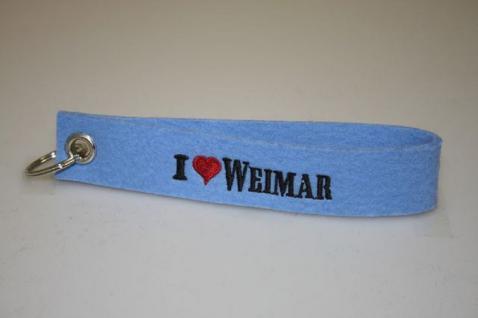 Filz-Schlüsselanhänger mit Stick - I love Weimar - Gr. ca. 17x3cm - 14331