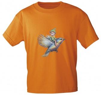 Kinder T-Shirt mit Print Elfchen auf Vogel 12442 Gr. Orange / 134/146
