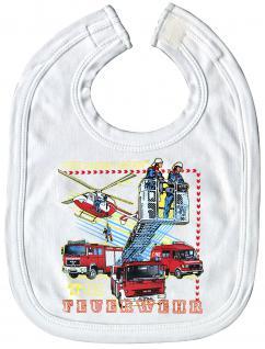 Babylätzchen mit Print - Feuerwehr - 12424 weiß