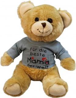 Plüsch - Teddybär mit Shirt - Beste Mama der Welt - 27047 Größe ca 26cm