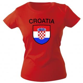 Girly-Shirt mit Print Fahne Flagge Wappen Kroatien Croatia G76387 rot Gr. S