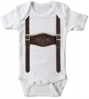 Babystrampler mit Print - Lederhose Hosenträger - 12731 weiß - 6-12 Monate
