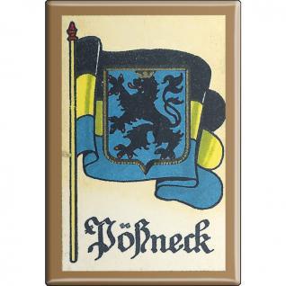 Küchenmagnet - Wappen Pösneck - Gr. ca. 8 x 5, 5 cm - 37540 - Magnet Kühlschrankmagnet