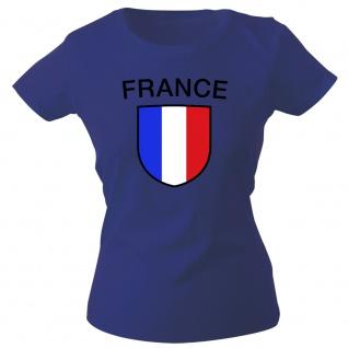 Girly-Shirt mit Print Fahne Flagge Wappen France Frankreich G73351 Gr. Navy / L
