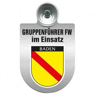 Einsatzschild Windschutzscheibe incl. Saugnapf - Gruppenführer Feuerwehr im Einsatz - 309750 Region Baden