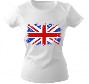 Girly-Shirt mit Print Flagge Fahne Union Jack Großbritannien G12122 Gr. weiß / XS