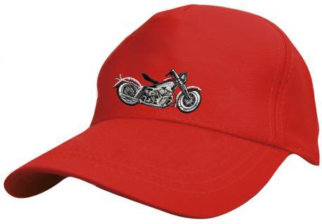 Kinder Schirm-Cap mit Motorrad-Stick - Chopper Bike Harley Motorrad - 69129 rot weiss schwarz - Baumwollcap Baseballcap Hut Schirmmütze Cappy
