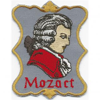Aufnäher - MOZART - Gr. ca. 8cm x 7cm (00876 schwarzer Hintergrund) Komponist Klassik