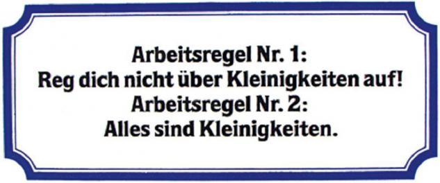 PVC Aufkleber Fun Auto-Applikation Spass-Motive und Sprüche - Arbeitsregel... - 303356 - Gr. ca. 17 x 8 cm