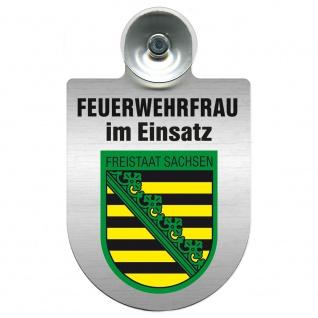 Einsatzschild Windschutzscheibe incl. Saugnapf - Feuerwehrfrau im Einsatz - 309473 Region Freistaat Sachsen