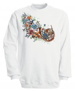 Sweatshirt mit Print - Trompete - S10283 - versch. farben zur Wahl - Gr. weiß / S