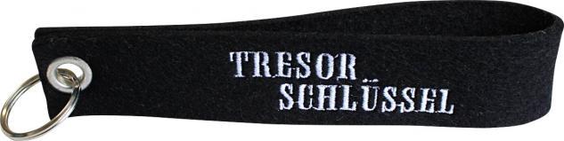 Filz-Schlüsselanhänger mit Stick TRESORSCHLÜSSEL Gr. ca. 17x3cm 14168 schwarz