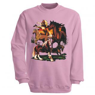 """Sweat- Shirt mit Motivdruck in 6 Farben """" Pferde"""" S12668 rosa / XL"""