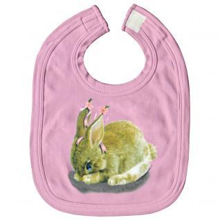 Baby-Lätzchen mit Print - Hase Kanninchen - L12778 - rosa