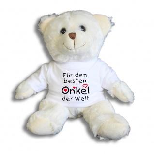 Teddybär mit Shirt - Für den besten Onkel der Welt - Größe ca 26cm - 27178 weiß