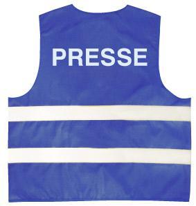 Warnweste mit Aufdruck - Presse - 11563 blau Gr. S-2XL