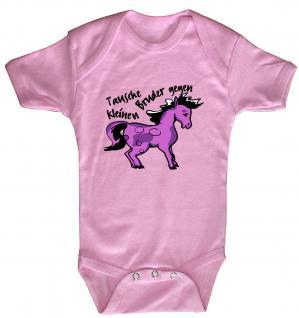 Babystrampler mit Print - Tausche Bruder gegen Pony - 08377 rosa - 0-6 Monate