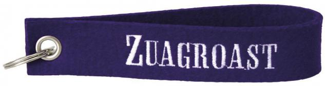 Filz-Schlüsselanhänger mit Stick Zuagroast Gr. ca. 17x3cm Lila - 14197-1