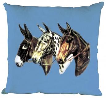 Kissen mit Print - 3 Esel Donkeys - TW053 blau Gr. ca. 40 x 40 cm incl. Füllung
