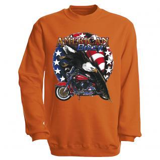 """Sweat- Shirt mit Motivdruck in 7 Farben """" Amercan Biker"""" S12662 S / Orange"""