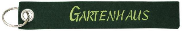 Filz-Schlüsselanhänger mit Stick GARTENHAUS Gr. ca. 17x3cm 14107 Keyholder dunkelgrün