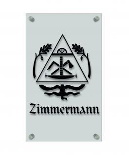 Zunftschild Handwerkerschild - Zimmermann - beschriftet auf edler Acryl-Kunststoff-Platte ? 309409 schwarz