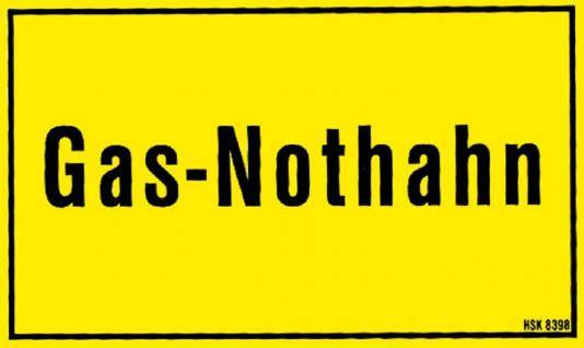 Hinweisschild - GAS-NOTHAHN - Gr. ca. 25 x 15 cm - 308398 - Vorschau
