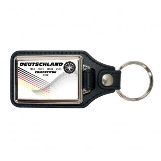 Leder-Schlüsselanhänger Deutschland Adler Competitior - Gr. ca. 95 x 40 mm - 02338 weiß