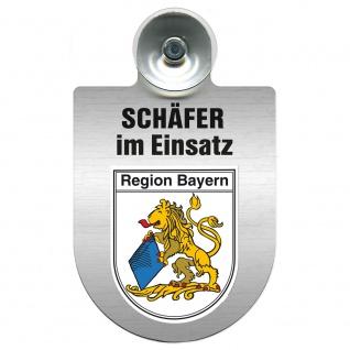 Einsatzschild Windschutzscheibe incl. Saugnapf - Schäfer im Einsatz - 309387 - Region Bayern