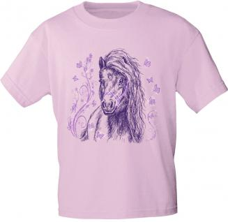 Kinder T-Shirt mit Pferdemotiv - Schmetterlings-Pony - 06954 - rosa - aus der ©Kollektion Bötzel - Gr. 122/128
