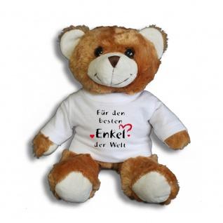 Teddybär mit Shirt - Für den besten Enkel der Welt -- Größe ca. 26cm - 27033 dunkelbraun