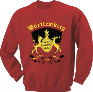 Sweatshirt mit Print - Württemberg Emblem - 09026 rot - XL