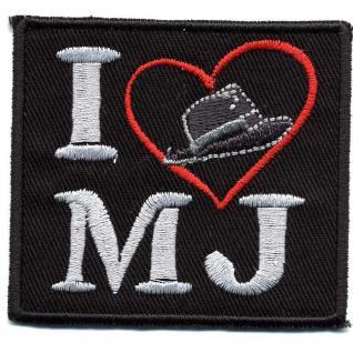 Aufnäher - I Love MJ - 01756 - Gr. ca. 6, 5 x 5 cm - Patches Stick Applikation