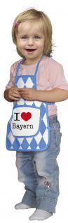 Baby- Kinder Schürze mit Tasche und Aufdruck - I love Bayern - 12402