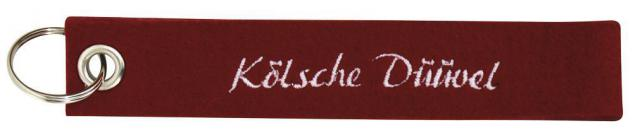 Filz-Schlüsselanhänger mit Stick Kölsche Düüwel Gr. ca. 17x3cm 14218 bordeaux