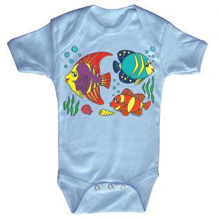 Baby-Body mit Druckmotiv Fische in 4 Farben und 4 Größen B12779 hellblau / 0-6 Monate