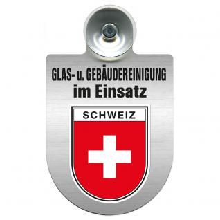 Einsatzschild für Windschutzscheibe incl. Saugnapf - Glas- u. Gebäudereinigung im Einsatz - 309399-22 Region Schweiz