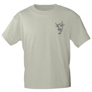 T-Shirt mit Print Kuhkopf mit Glocke - 11913 sandfarben Gr. S-2XL