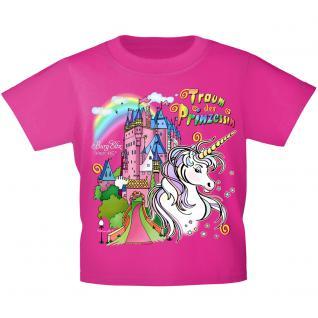 Kinder T-Shirt mit Print - Einhorn Schloß Zauber - 12430 versch. Farben Gr. 110-164 Pink / 122/128