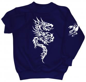 Sweatshirt mit Print - Tattoo Drache - 09020 - versch. farben zur Wahl - blau / S