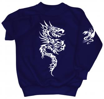 Sweatshirt mit Print - Tattoo Drache - 09020 - versch. farben zur Wahl - blau / XL