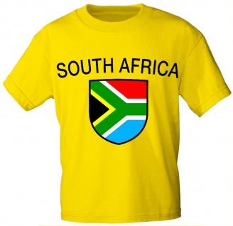 Kinder T-Shirt mit Print Fahne Flagge South Africa Südafrika - K76137 gelb Gr. 98/104